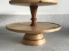 A two tier, revolving cake stand